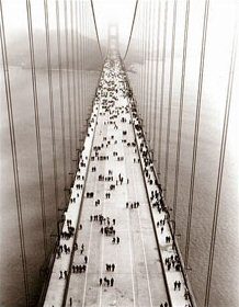 Vintage Photograph of Opening day of Golden Gate Bridge