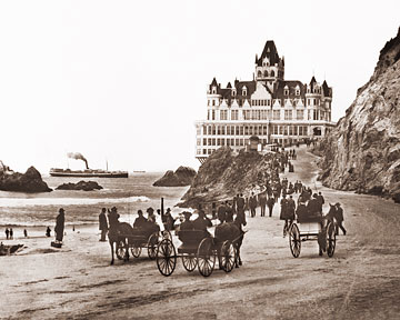Vintage Photograph of Cliff House & Carriages