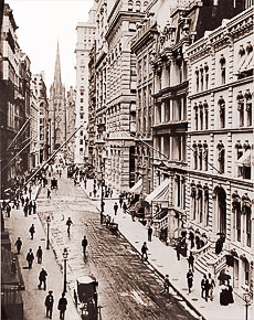Vintage Photograph of Wall Street & Trinity Church
