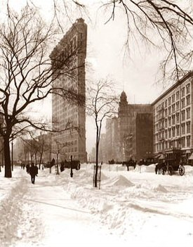Vintage Photograph of Flatiron Building after a Snow