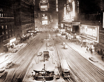 Vintage Photograph of Times Square after a Snow