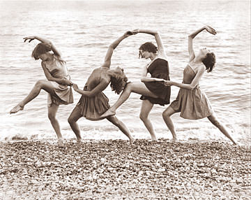 Vintage Photograph of Four Beach Dancers