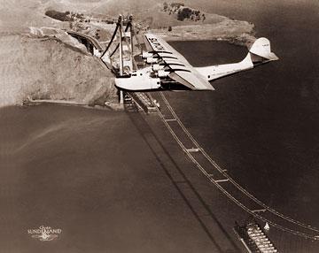 Pan Am Clipper Over The Golden Gate Bridge Construction
