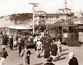 Vintage Photograph of Street Cars near Playland