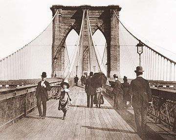 Vintage Photograph of The Brooklyn Bridge Pedestrian Walkway