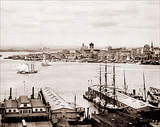 View Of New York Harbor From Brooklyn Heights Historical