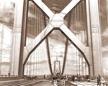 Vintage Photograph of Bay Bridge under construction