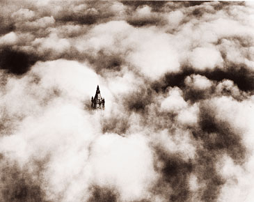 Vintage Photograph of Woolworth Building Above the Clouds