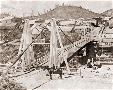 Vintage Photograph of Nevada City - Suspension Bridge