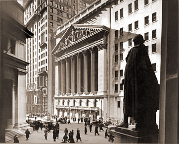 Vintage Photograph of Wall St. & New York Stock Exchange