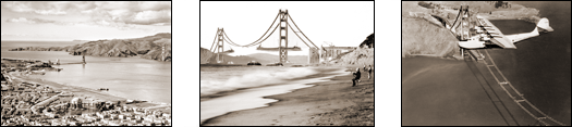 Vintage Photograph of Three Views of the Golden Gate Bridge Construction