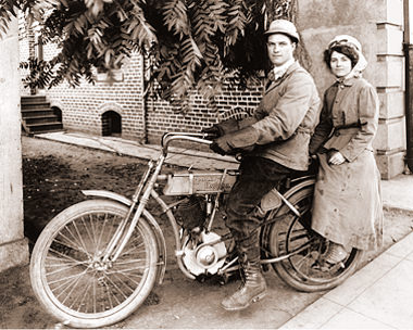 Couple On A Harley Davidson Motorcycle Historical Photos