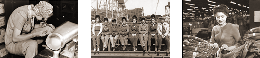 Vintage Photograph of Three Views of WWII Women Factory Workers