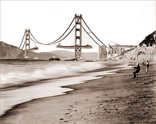Fishermen Near Golden Gate Bridge Construction Historical