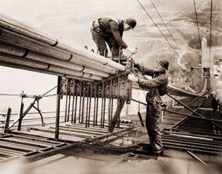 Workers On Golden Gate Bridge Construction Historical