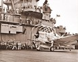 Vintage Photograph of WWII Hellcat Fighter on Aircraft Carrier