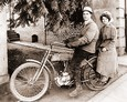Vintage Photograph of Couple on a Harley-Davidson Motorcycle