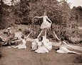 Vintage Photograph of Dancers in the  Garden