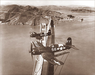 Wwii Corsairs Over The Golden Gate Bridge Historical