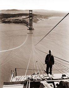 Construction Worker On The Golden Gate Bridge Historical